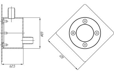 Распаечный короб с квадратной лицевой панелью и круглой закладной (РК.02.2) - фото 5586